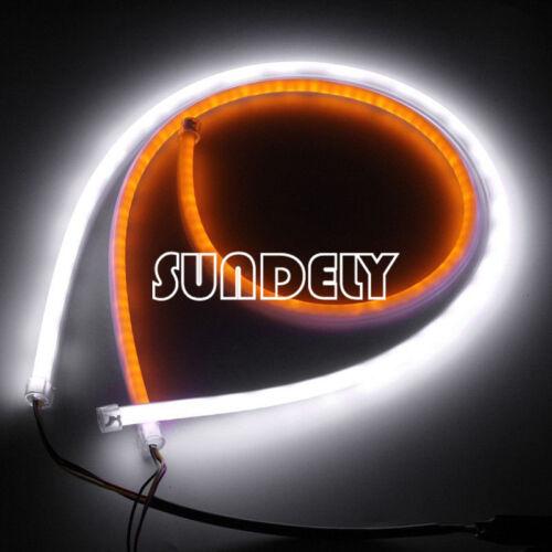 2pc 45cm Flexible Soft Tube Car LED Strip Daytime Running DRL /& Amber Turn Light