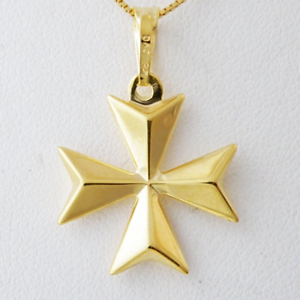 Malta MALTESE CROSS Jewellery Hallmarked 9ct Gold 3D Pendant Charm Genuine 375