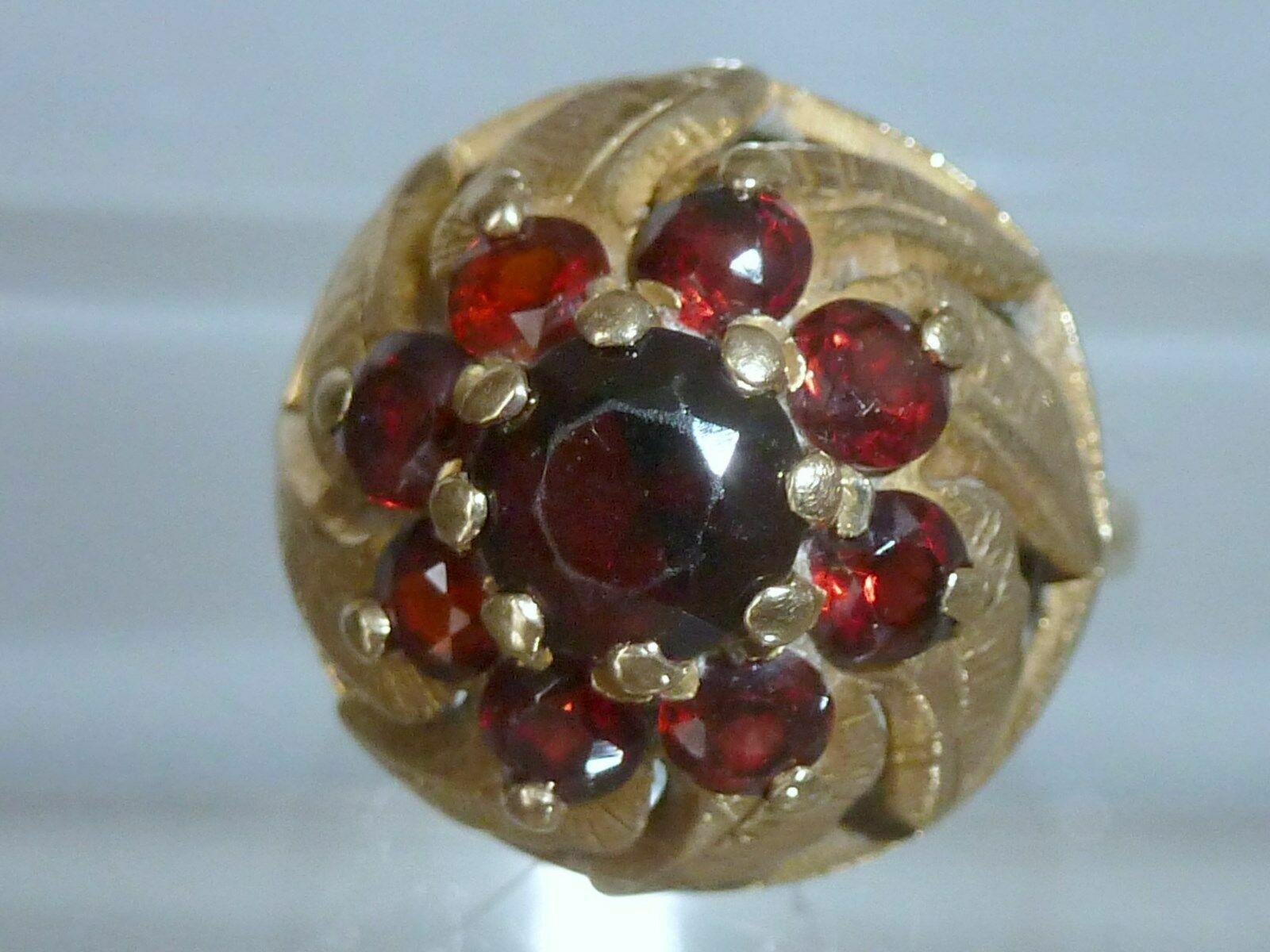 Vintage 1970 9K Yellow Gold 2ct Garnet Cluster Do… - image 5
