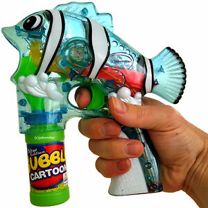 Led Fish Bubble Gun Toy Blaster Squirt Blower Flashing