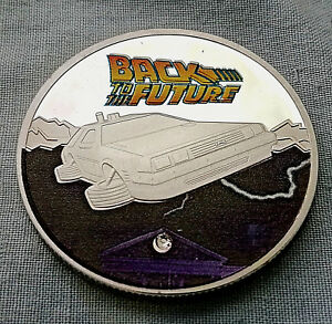 BACK-TO-THE-FUTURE-Silver-Coin-Time-Travel-Machine-Colour-Car-Spielberg-Gem-USA