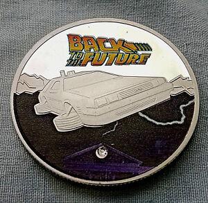 BACK-TO-THE-FUTURE-Silver-Coin-Time-Travel-Machine-Colour-Delorean-Gem-Stone-USA