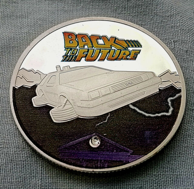 BACK TO THE FUTURE Silver Coin Time Travel Machine Colour Car Spielberg Gem USA
