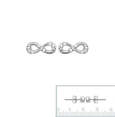 Boucles D'Oreilles INFINITY Symbole infini en ARGENT Massif & Zirconium NEUF