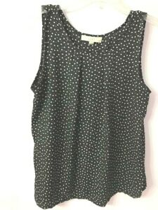 Ann-Taylor-Loft-Polka-Dot-Sleeveless-Black-White-Blouse-Top-Size-Petite-Large-LP