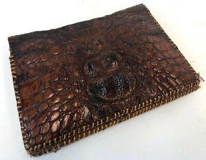 Vintage-11-034-Brown-Gac-Crocodile-Croc-Single-Skin-Stitched-Clutch-Handbag-Purse