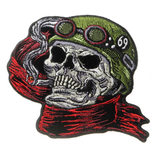Embroidered Helmet Skull Scarf Biker 69 Sew or Iron on Patch Biker Patch