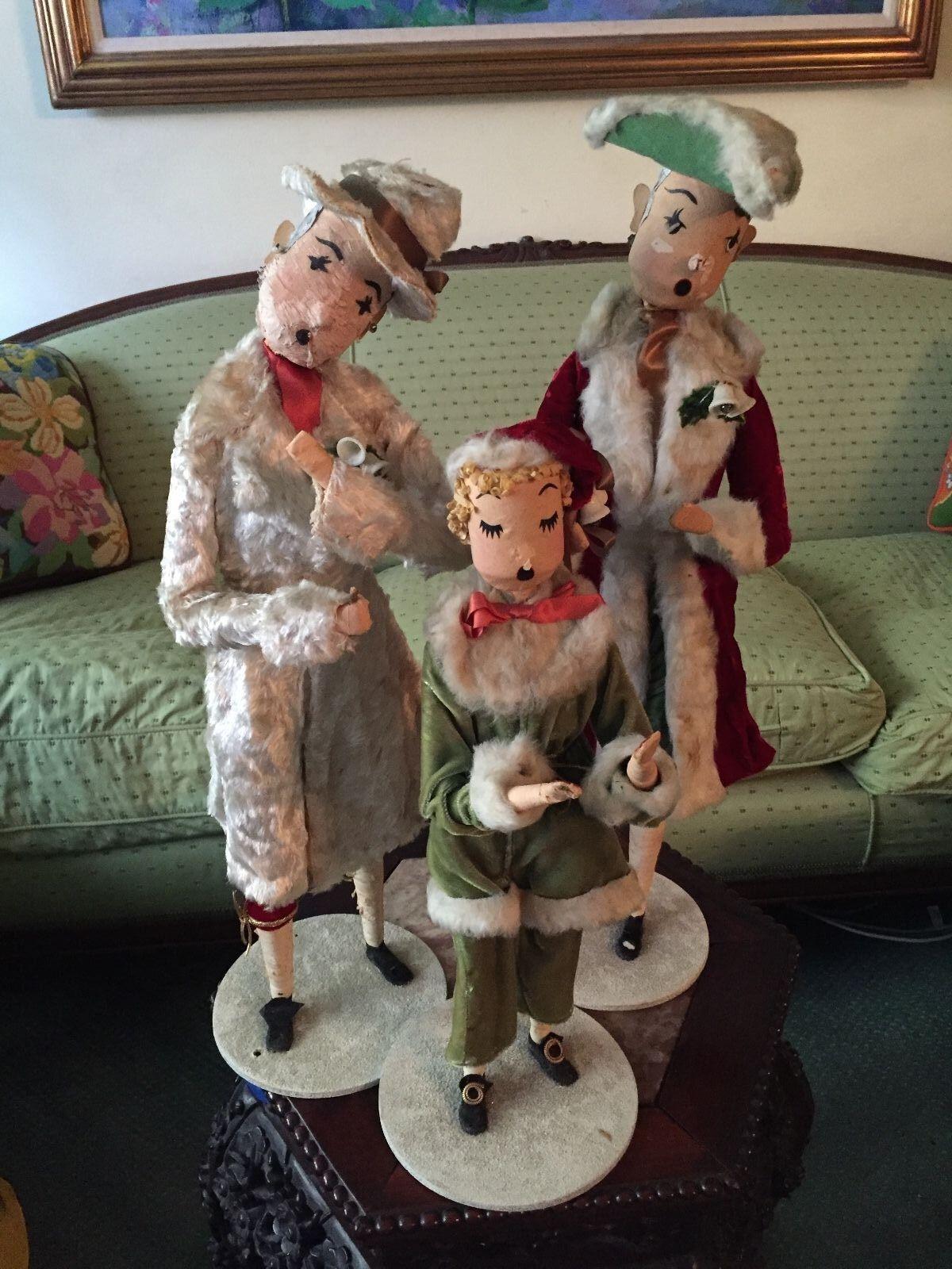 3 1930'-40's Original Muñeca Bernard Ravca Carolers de Navidad para escaparate de una clase