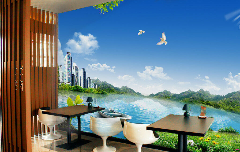 3D City River Boat 562 Wall Paper Wall Print Decal Wall Deco Indoor Mural Carly