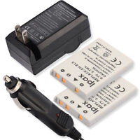 Two Battery +wall&car Charger For Nikon Coolpix P80 P590 S10 Black Silver Camera