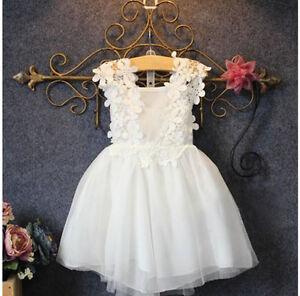 df7b1f58071 Baby Girl Princess White Lace Dress Tutu Party Wedding Birthday ...