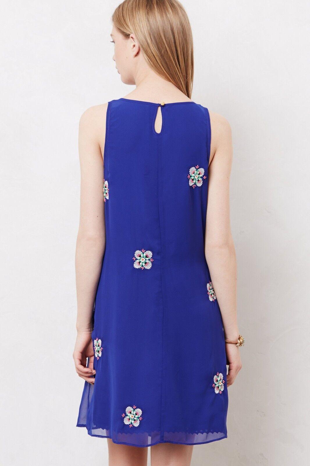 NWT ANTHROPOLOGIE LEIFSDOTTIR ETHNIC Blau Weiß SEQUIN SHIFT DRESS 10 6 38