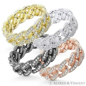 1324dc0d6 Cuban / Curb Link Chain CZ Crystal Pave Ring .925 Sterling Silver ...