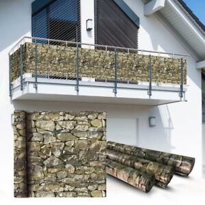 PVC-Balkon-Sichtschutz-Sichtschutzfolie-Stein-6x0-75m-Balkonabdeckung