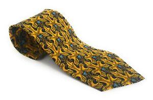 BRIONI-Tie-Robust-Luxury-Italian-Necktie-Black-Gold-Blue-Floral