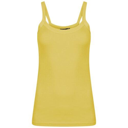 LADIES WOMEN PLAIN RIB STRETCH STRAP TOP RIBBED VEST T SHIRT PLUS SIZES 8-14