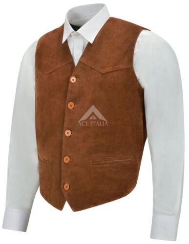 Vest Party pelle Gilet scamosciata da Western da marrone Festival uomo uomo Cowboy in chiaro Zara Fq6wtq7x