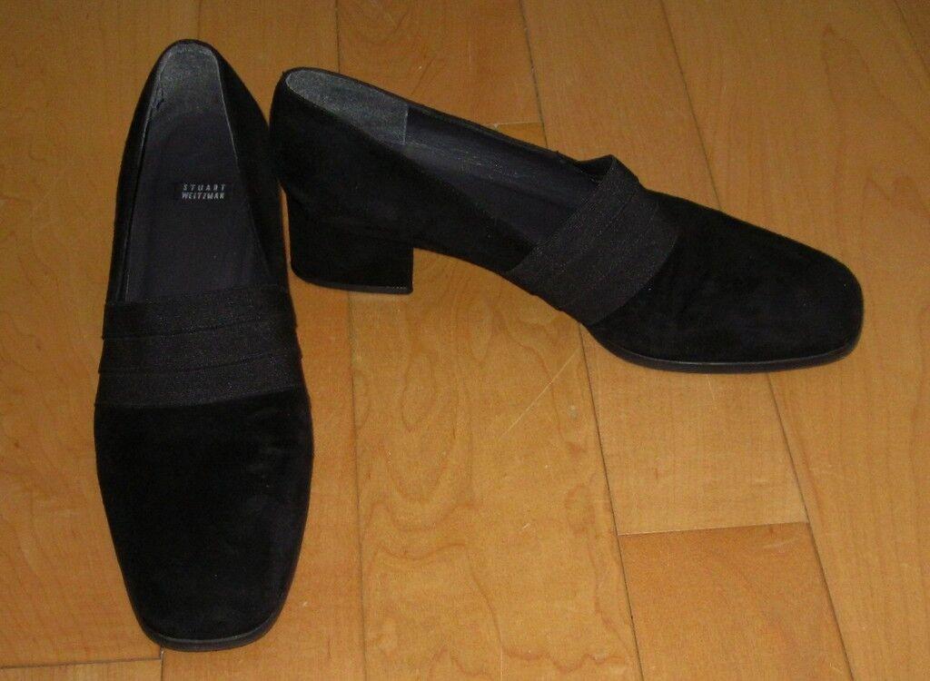 Stuart Weitzman Wm Black Suede  Fabric Heels 8
