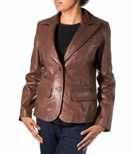 Ladies Brown Two Button Fitted Classic Casual Tailored Blazer Leather Jacket
