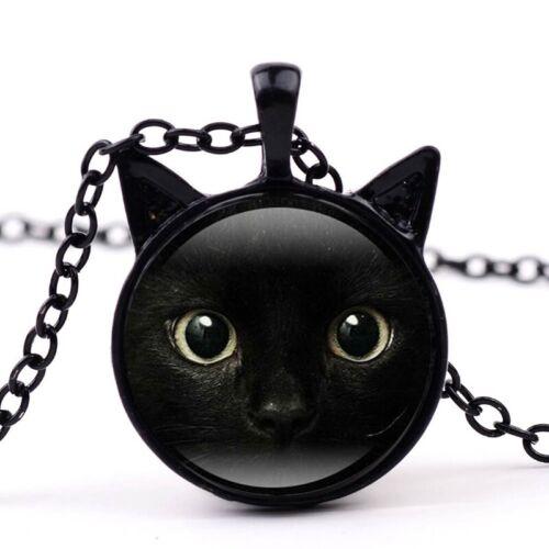 Katze Gesicht Zeit Edelstein Halskette Katze Ohr Anhänger Pullover KetteLb