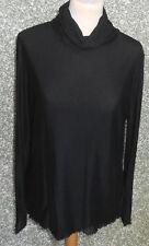 20 120/7 Comma Damen Shirt Rolli Gr. 42 schwarz doppellagig Langarm Rollkragen