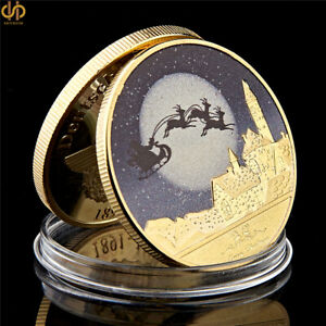 2019-Merry-Christmas-Snowman-Deer-Gold-Commemorative-Coin-Collection
