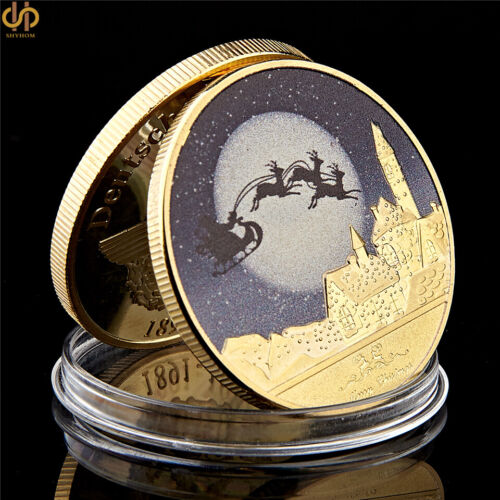 2019 Merry Christmas Snowman Deer Gold Commemorative Coin Collection