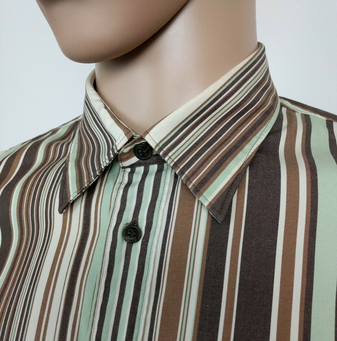 b8391629 Hugo Boss Mens Shirt Brown Mint Green Stripe Size M , 16 RRP Red Label