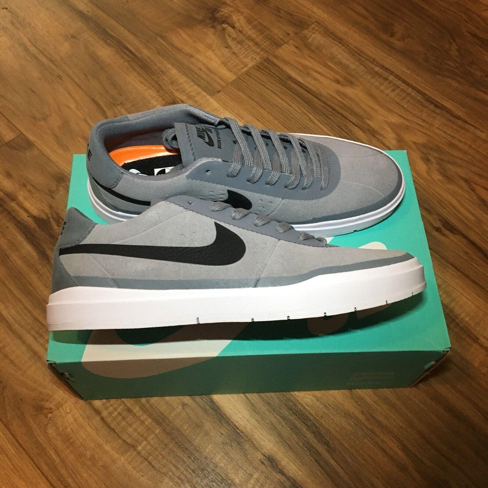 Nike SB Bruin Hyperfeel Skateboard Shoe Cool Grey Black White Sz 5.5 831756-002