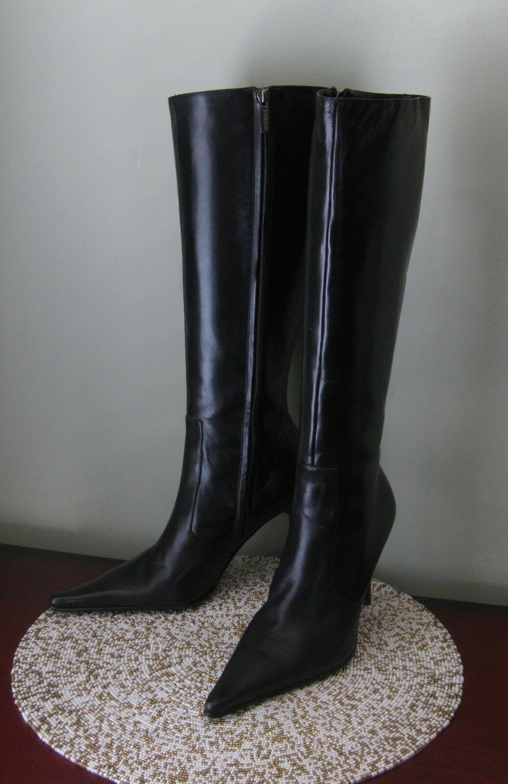 NEW PANCALDI Black Boots Heels shoes 38 Made in ITALY