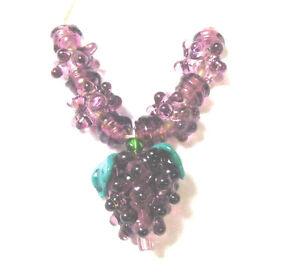 LGL- Handmade Lampwork Beads- GRAPE VINE - Nc2055- SRA DIY Wine Vacation Purple