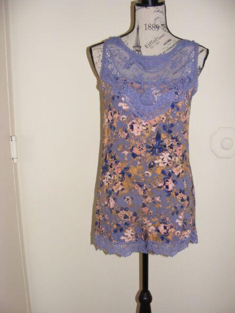 79e4c95086ef Xhilaration Blue Purple Periwinkle Floral Romper XS NWT Mesh Lace Crochet  Trim
