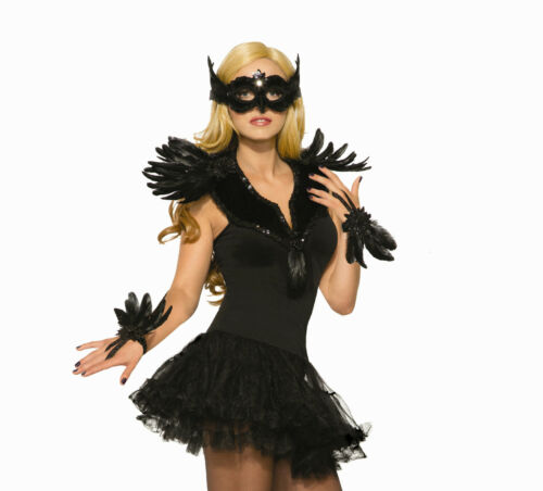 Black Feathered Raven Collar Costume Accessory