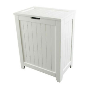 Laundry Hamper With Lid Wood Clothes Storage Bin Bathroom ...