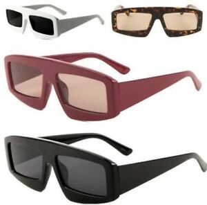 8f312793d60c Image is loading LADIES-WOMEN-FLAT-LENS-SQUARE-SUNGLASSES-DESIGNER-RETRO-