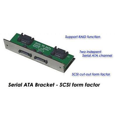 Dual Channel SATA To SATA Pannel Mount For SCSI Cut-Out Includes 4 SATA Cables