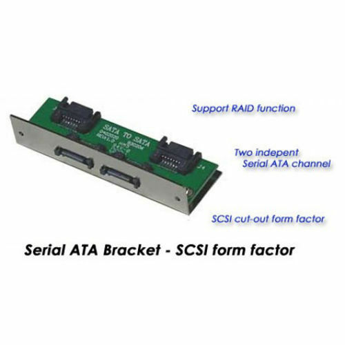 Dual Channel SATA To SATA Pannel Mount For SCSI Cut-Out Includes 4 SATA Cables