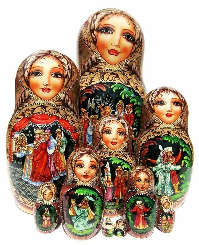 Pushkin Stories Exclusive HUGE 10-Piece Russian Wooden Handmade Nesting Doll
