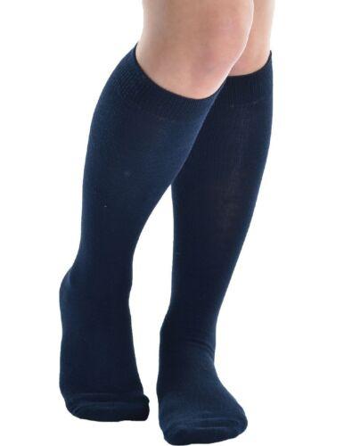 Childrens Back To School 3 Pairs Knee High Plain School Cotton Rich Socks