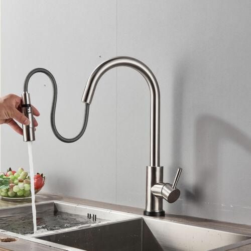 Küchenarmatur Ausziehbar Touch Control Sensor Einhandmischer Wasserhahn Nickel