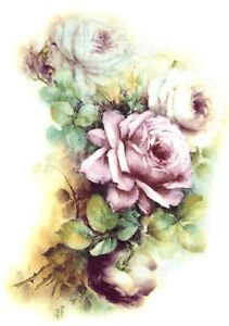 Pink-White-Rose-Spray-Flower-Select-A-Size-Waterslide-Ceramic-Decals-Xx