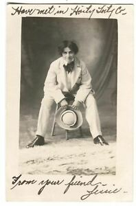 RPPC-Postcard-Actress-Woman-Dressed-Men-039-s-Suit