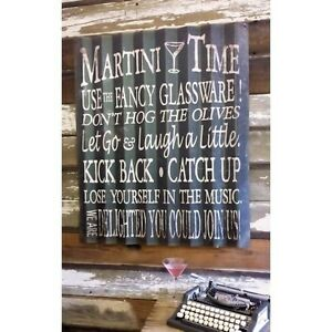 Martini-Time-Corrugated-Metal-Sign-BIG-36-X-30-SHIPS-WORLDWIDE