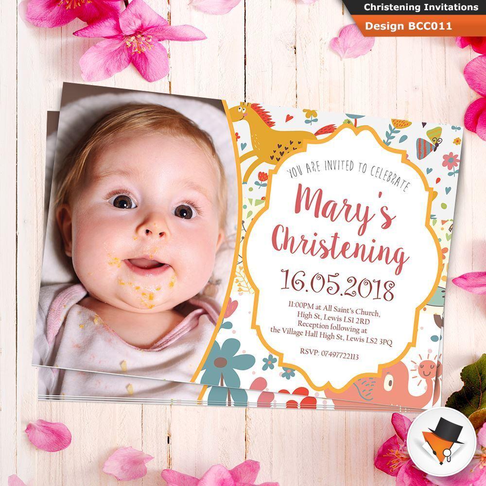 Personalised Photo Christening Invitation Baptism Naming Day Boy Env