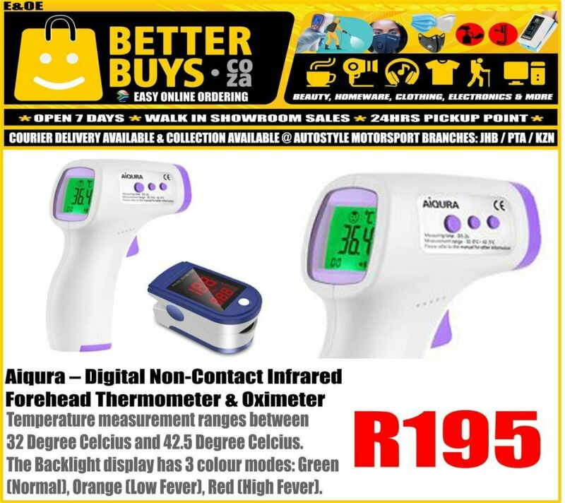 Aiqura – Digital Non-Contact Infrared Forehead Thermometer with Oximeter