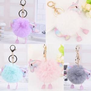 Cute-Pompom-Unicorn-Keychain-Faux-Fur-Ball-Keyring-Bag-Hanging-Pendant-Decor-New