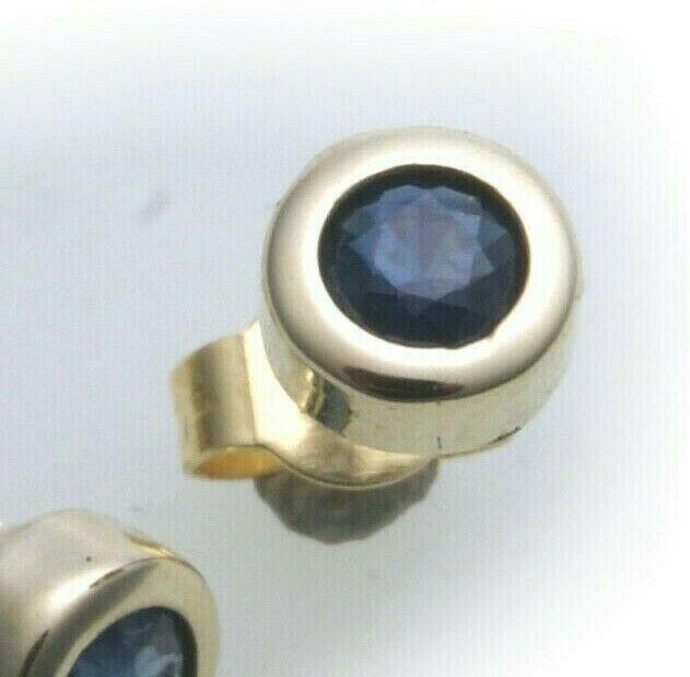 9a11b5fe05838 Men's Single Earrings Studs Sapphire Real Gold 750 Studs 18 Carat Yellow  Gold
