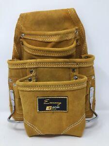 Image Is Loading Leather Gold Economy 10 Pocket Suede Carpenter