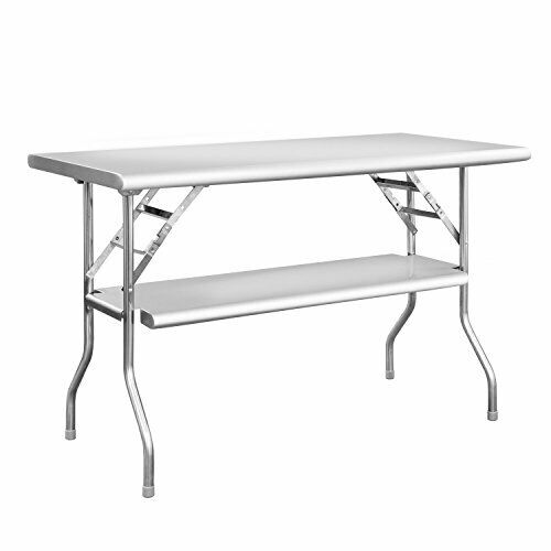 Double Shelf Stainless Steel Folding Work Table with Folding Legs 48 L X 24 W