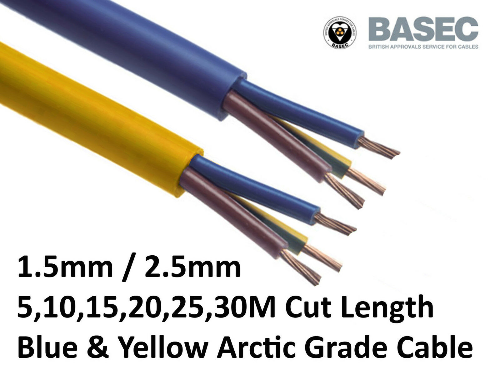 2.5mm Outdoor Caravan Camping Arctic Blue Yellow 3183 AG Flex Cable 3 core 1.5
